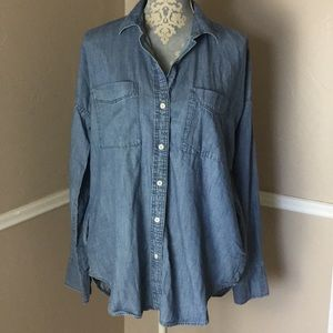 1969 Denim Work-shirt Hi Low Pockets 100% Cotton